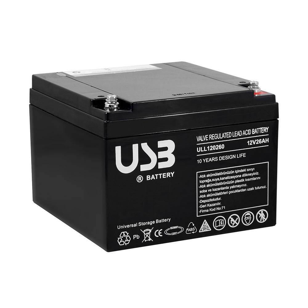 USB ULL1226 12V 26 Ah Bakımsız Kuru Akü