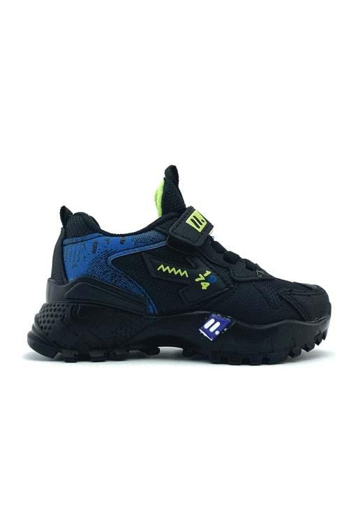 Çırtçırtlı Siyah Mavi Erkek Çocuk Spor Ayakkabı