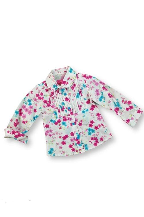 Fuşya Çiçek Baskılı Pliseli Kız Çocuk Gömlek
