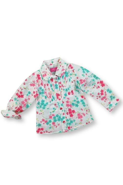 Nar Çiçek Baskılı Pliseli Kız Çocuk Gömlek