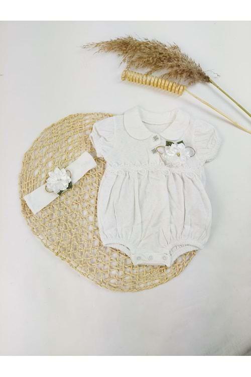 Dantelli Jakar Kumaş Ekru Kız Bebek Yazlık Tulum