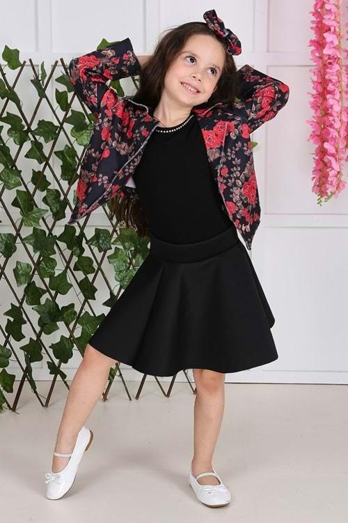 Gül Desen Ceketli Yazlık Kız Çocuk Elbise