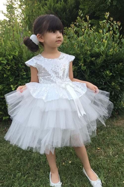 Beyaz Pul Payet Kız Çocuk Parti Elbise